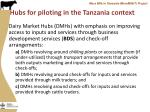hubs for piloting in the tanzania context