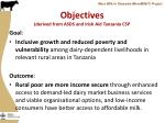 objectives derived from asds and irish aid tanzania csp