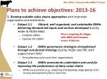 plans to achieve objectives 2013 16