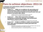 plans to achieve objectives 2013 161