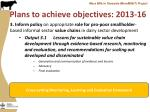plans to achieve objectives 2013 162