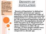 density of population