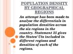 population density by geographical regions