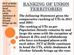 ranking of union territories