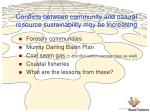 conflicts between community and natural resource sustainability may be increasing