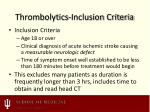 thrombolytics inclusion criteria