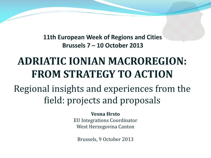 11th european week of regions and cities brussels 7 10 october 2013 n.