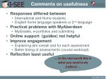 comments on usefulness