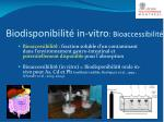 biodisponibilit in vitro bioaccessibilit