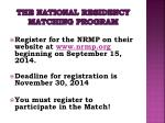 the national residency matching program