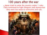 100 years after the war