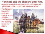 yorimoto and the shoguns after him