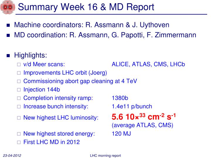 summary week 16 md report n.