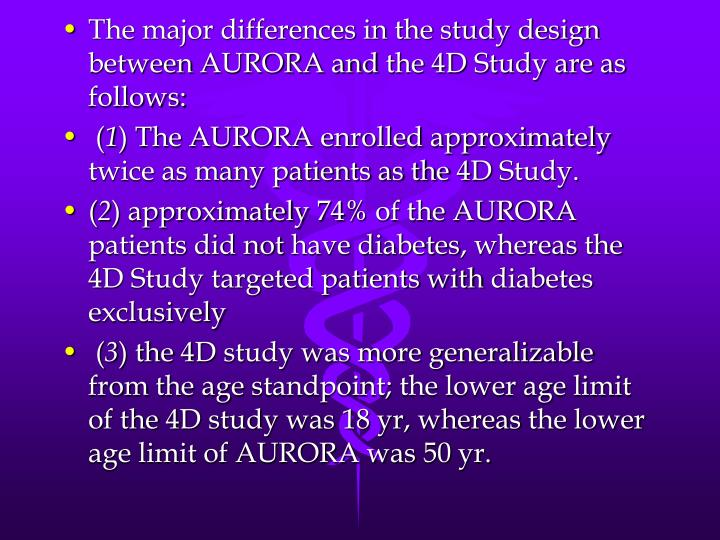 The major differences in the study design between