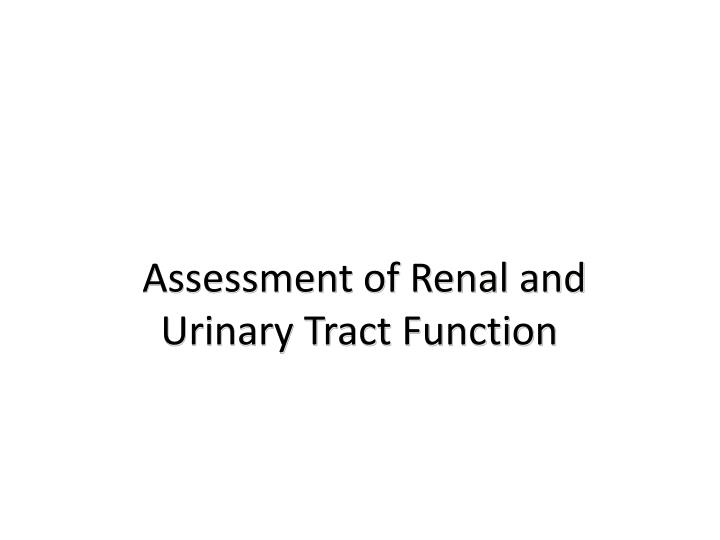 assessment of renal and urinary tract function n.