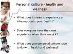 personal culture health and wellness
