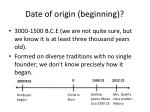 date of origin beginning