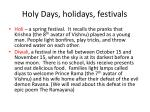 holy days holidays festivals