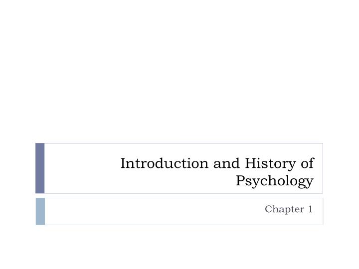 introduction and history of psychology n.