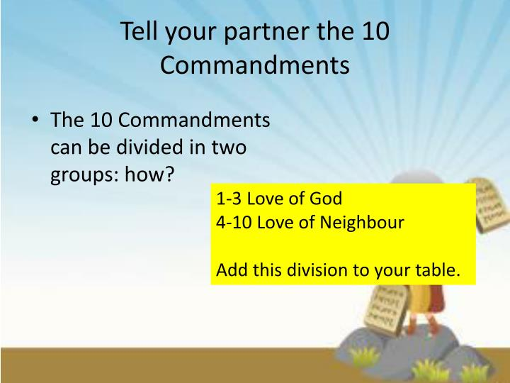 tell your partner the 10 commandments n.