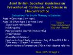 joint british societies guidelines on prevention of cardiovascular disease in clinical practice