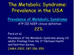 the metabolic syndrome prevalence in the usa