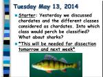 tuesday may 13 2014
