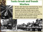 tanks break and trench warfare