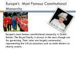 europe s most famous constitutional monarchy