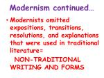 modernism continued