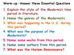 warm up answer these essential questions