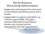 plan for resources done during implementation