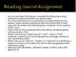 reading journal assignment