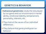 genetics behavior