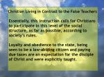 christian living in contrast to the false teachers15