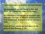 christian living in contrast to the false teachers31