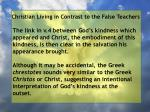 christian living in contrast to the false teachers48