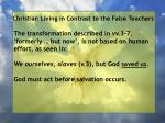 christian living in contrast to the false teachers50