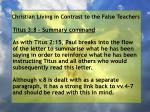 christian living in contrast to the false teachers77