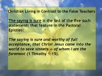 christian living in contrast to the false teachers79