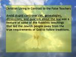 christian living in contrast to the false teachers95