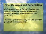 final messages and benediction25