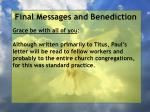 final messages and benediction35