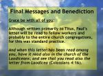 final messages and benediction36
