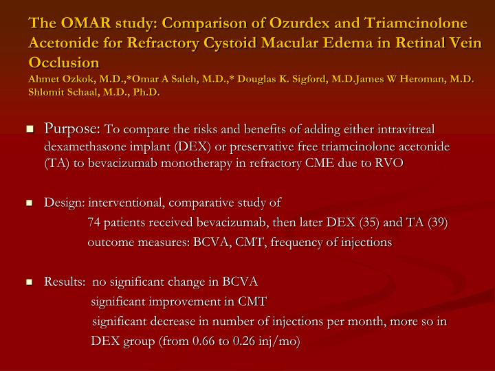 The OMAR study: Comparison of