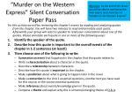 murder on the western express silent conversation paper pass