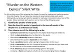 murder on the western express silent write