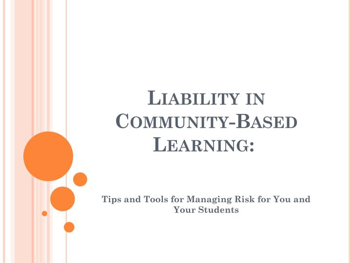 liability in community based learning n.