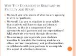 why this document is relevant to faculty and staff