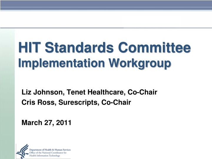 hit standards committee implementation workgroup n.